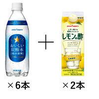 【LOHACO限定】ポッカサッポロ おいしい炭酸水 500ml 6本×レモン果汁を発行させて作ったレモンの酢 500ml 2本 セット