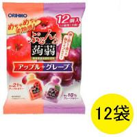 ぷるんと蒟蒻ゼリー パウチ アップル+グレープ 12個入×12袋 オリヒロ 栄養補助ゼリー
