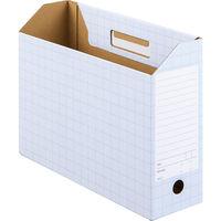 ボックスファイル A4ヨコ 10冊 ダンボール製 ブルー アスクル