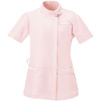 AITOZ(アイトス) アシンメトリーカラーチュニック ナースジャケット 医療白衣 半袖 ピンク×ホワイト LL 861115