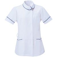AITOZ(アイトス) アシンメトリーカラーチュニック ナースジャケット 医療白衣 半袖 ホワイト×ネイビー L 861115