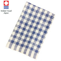 今治タオル たおる本舗 季(とき) チェック フェイスタオル ブルー 1枚 約34×80cm 丸眞