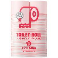 2倍巻 トイレットペーパー 6ロール パルプ ダブルピンク 60m オリジナルトイレットロールソフト&ピュア 桜の香り 1パック(6個入) アスクル