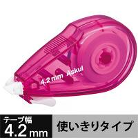 修正テープ ビビッドカラー 幅4.2mm×8m ピンク アスクル