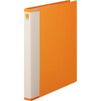 クリヤーブック 差し替え式 30穴 A4タテ 15ポケット 背幅2.5cm オレンジ アスクル
