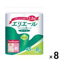 トイレットペーパー 8ロール パルプ 香り付 ダブル 45m エリエールトイレットティシューコンパクト 1ケース(1パック(8個入)×8パック入) 大王製紙