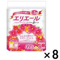 トイレットペーパー 8ロール入×8パック パルプ ダブル 37.5m 花の香り エリエールトイレットティシュー 1箱(64ロール入) 大王製紙