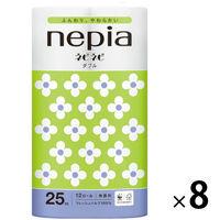 トイレットペーパー 12ロール パルプ ダブル 25m ネピアネピネピトイレットロール 1ケース(1パック(12個入)×8パック) 王子ネピア