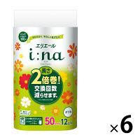 トイレットペーパー 12ロール パルプ フローラルの香り ダブル 50m エリエールイーナ 1ケース(1パック(12個入)×6パック) 大王製紙