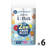 トイレットペーパー 12ロール パルプ フローラルの香り シングル 100m エリエールイーナ 1ケース(1パック(12個入)×6パック) 大王製紙