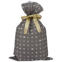 カクケイ 不織布巾着袋<リボン付き>ドットブラウン LL FBRB-16 1セット(10枚) (取寄品)