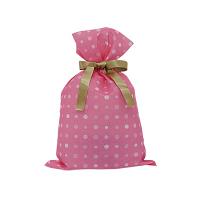 カクケイ 不織布巾着袋<リボン付き>ドットピンク S FBRP-24 1セット(10枚) (取寄品)