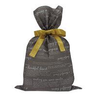 カクケイ 不織布巾着袋<リボン付き>英字ブラウン M FER-33 1セット(10枚) (取寄品)