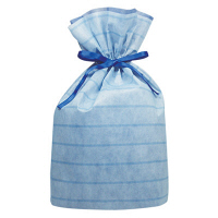 カクケイ 不織布巾着袋(底マチ付) ボーダー ブルー L FK3052 1セット(10枚) (取寄品)