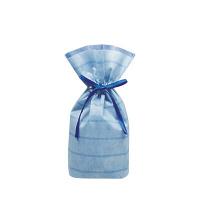 カクケイ 不織布巾着袋(底マチ付) ボーダー ブルー S FK3054 1セット(10枚) (取寄品)