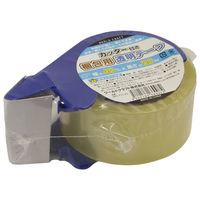 ワールドクラフト OPPテープ カッター付き梱包用透明テープ WRC-PTC-50 0.055mm厚 幅48mm×長さ50m巻 1セット(1巻+カッター1個)