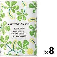 2倍巻 トイレットペーパー 6ロール入 再生紙配合 ダブル 60m フローラルの香り オリジナルトイレットロールフローラルブレンド 1箱(48ロール入)