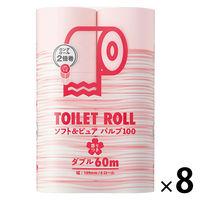 2倍巻 トイレットペーパー 6ロール入×8パック パルプ ダブルピンク 60m オリジナルトイレットロールソフト&ピュア 桜の香り 1箱(48ロール入)