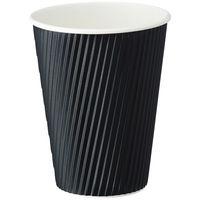 ファーストレイト リップルカップ ブラック 12オンス 1袋(40個入)