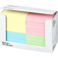 アスクル ふせん 貼ってはがせるオフィスのノート 75×75mm カラー4色 100冊(20冊入×5箱)