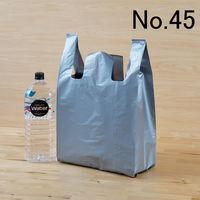 「現場のチカラ」レジ袋(厚手) シルバー ひも付 No.45 1袋(100枚入) 伊藤忠リーテイルリンク