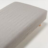オーガニックコットン洗いざらしボックスシーツ・S/ブラウン 37112575 無印良品