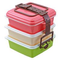 スタック式 ピクニック ランチボックス(三段重) 小 ピンク