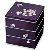 【在庫整理品】切立三段重 宇野千代 あけぼの桜 紫 19.5cm 正和