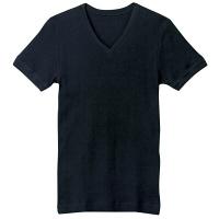 BODYWILD(ボディワイルド) VネックリブTシャツ L ブラック GUNZE(グンゼ)