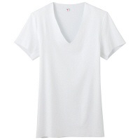 YG(ワイジー) CUT OFF VネックTシャツ LL ホワイト GUNZE(グンゼ)