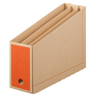 ボックスファイル仕切り付 A4 15冊 ダンボール製 オレンジ アスクル