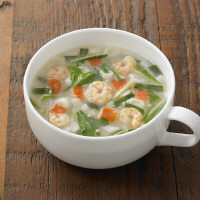 食べるスープ えびと水菜の白湯スープ