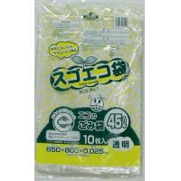 野添産業 スゴエコ袋 45L 透明 厚さ25μ 3S2514525 1袋(10枚入)