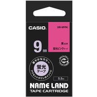 カシオ ネームランドテープ 9mm カラーラベル 蛍光 ピンクテープ(黒文字) 1個 XR-9FPK