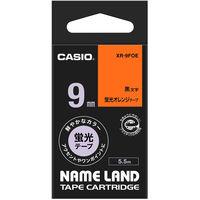 カシオ ネームランドテープ 9mm カラーラベル 蛍光 オレンジテープ(黒文字) 1個 XR-9FOE