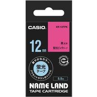 カシオ ネームランドテープ 12mm カラーラベル 蛍光 ピンクテープ(黒文字) 1個 XR-12FPK