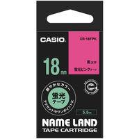 カシオ ネームランドテープ 18mm 蛍光 ピンクテープ(黒文字) 1個 XR-18FPK