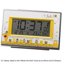 リズム時計 電波目覚まし時計 くまのプーさん 幅146×奥行40×高さ94mm 8RZ133MC08 (直送品)