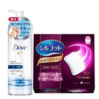 【数量限定】ダヴ(Dove) ふきとり水クレンジング 235mL + シルコット ふきとりコットン 32枚入 ユニリーバ