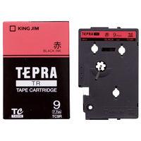 キングジム テプラ TRテープカートリッジ 9mm カラーラベル パステル 赤ラベル(黒文字) 1個 TC9R