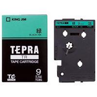 キングジム テプラ TRテープカートリッジ 9mm カラーラベル パステル 緑ラベル(黒文字) 1個 TC9G