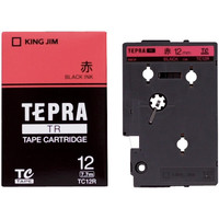 キングジム テプラ TRテープカートリッジ 12mm カラーラベル パステル 赤ラベル(黒文字) 1個 TC12R