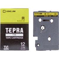 キングジム テプラ TRテープカートリッジ 12mm カラーラベル パステル 黄ラベル(黒文字) 1個 TC12Y