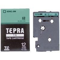 キングジム テプラ TRテープカートリッジ 12mm カラーラベル パステル 緑ラベル(黒文字) 1個 TC12G