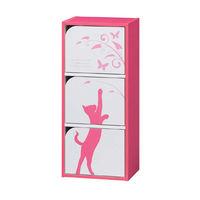 白井産業 組立簡単ボックスEK-cube3ドア 猫柄 ピンク (直送品)