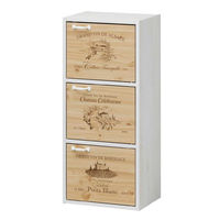 白井産業 組立簡単ボックスEK-cube3ドア Aタイプ 木箱風 ホワイト (直送品)