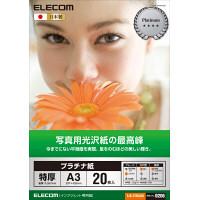 エレコム 光沢写真用紙 プラチナ紙特厚 A3 白 297mm×420mm EJK-QTNA320 1箱(20枚入) (直送品)