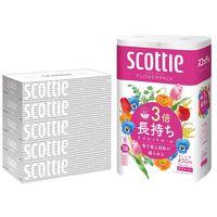 スコッティ ティッシュペーパー200組(5箱入)+トイレットペーパー3倍長持ち6ロール(1パック6個入)セット