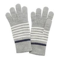 ボーダータッチパネル手袋 Lグレー
