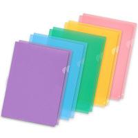 プラス 高透明カラークリアホルダー A4 5色アソート 1袋(10枚)